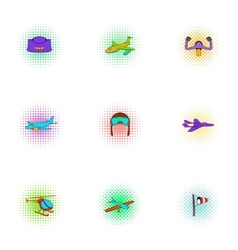 Air transport icons set pop-art style vector image