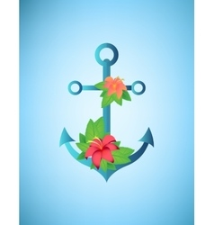 Anchor hibiscus flowers and palm leaves retro vector