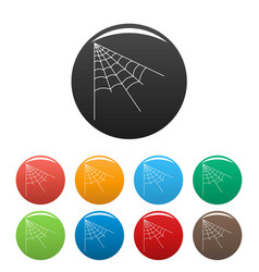 Angle spiderweb icons set color vector