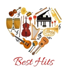 Best hits heart icon of musical instruments vector image