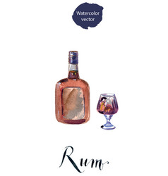 Bottle and glass rum vector
