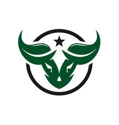 buffalo head natural logo design vector image