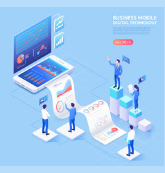 Business mobile application isometric vector