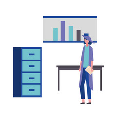 business woman holding folder office table cabinet vector image