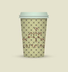 Caffeine chemical formula on coffee paper cup vector