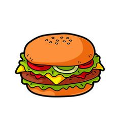 cartoon cheeseburger vector image