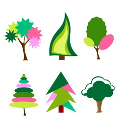 cartoon colorful trees vector image