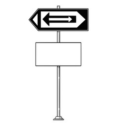cartoon drawing of confusing traffic sign with vector image