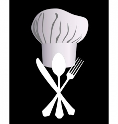Chefs hat with a knife spoon and fork vector