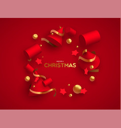 Christmas card luxury 3d red and gold ornaments vector