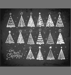 christmas card with trees doodles vector image