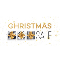 christmas sale background with gifts boxes with vector image