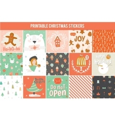 Collection of 15 Christmas gift tags and cards vector