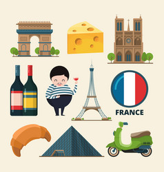 collection set france landmarks icon vector image