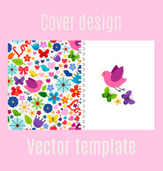 Cover design with spring decorations pattern vector
