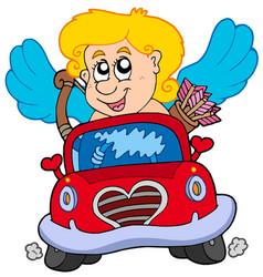 Cupid in red car vector