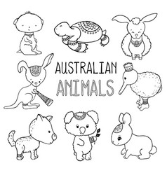 Cute australian animals outlined drawing vector