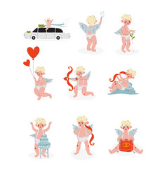 cute funny cupid in different situations set amur vector image