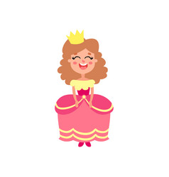 cute happy little princess in pink dress cartoon vector image