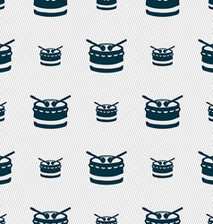 Drum icon sign Seamless pattern with geometric vector