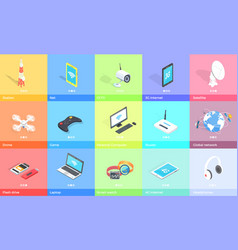 electronic gadgets collection colorful poster vector image