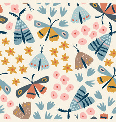 floral seamless pattern hand drawn colorful vector image