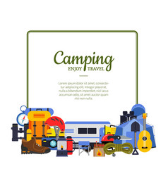 frame with flat style camping elements vector image