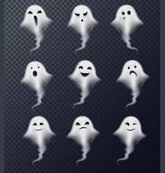Ghost realistic set transparent vector