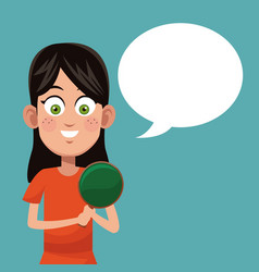 girl game ping pong practice vector image