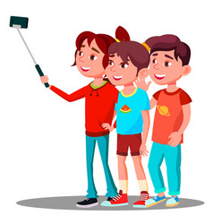 group of children make a selfie picture on mobile vector image