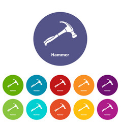 hammer icons set color vector image