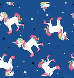 hand drawing print design unicorn and slogan star vector image