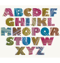 Hand drawn color bold font sketch style alphabet vector image
