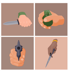 hand firing with gun cards protection ammunition vector image