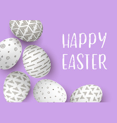 Happy easter eggs frame with text white easter vector