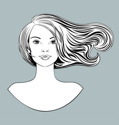 head a blonde girl with loose flowing hair and vector image