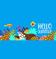 hello summer tropical coral reef art banner vector image
