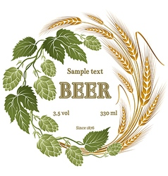 hops and wheat for beer label vector image