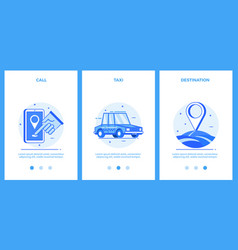 Icons of taxi service - call taxi destination vector