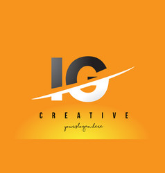 Ig i q letter modern logo design with yellow vector