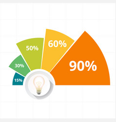 infographic bulb design five chart image vector image