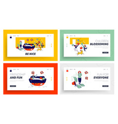 kids bad behaviour mess website landing page set vector image