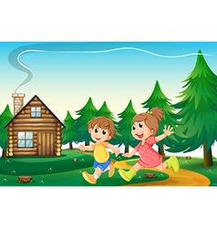 Kids playing outside the wooden house at the vector image vector image