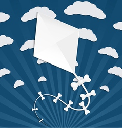 Kite on a blue background with clouds and rays vector image