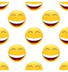 Laughing emoticon pattern vector image