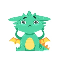 Little Anime Style Baby Dragon Feeling Lonely vector image