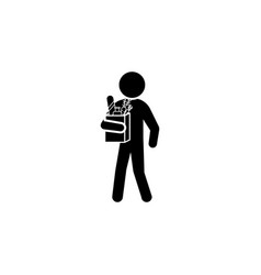 man with food icon man with purchases vector image