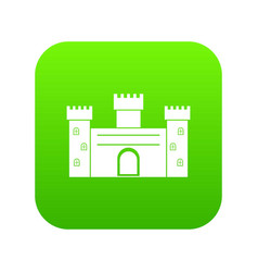 Medieval fortification icon digital green vector