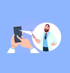 Mobile medicine app with hand holding smart phone vector