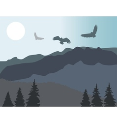 mountains eagles vector image